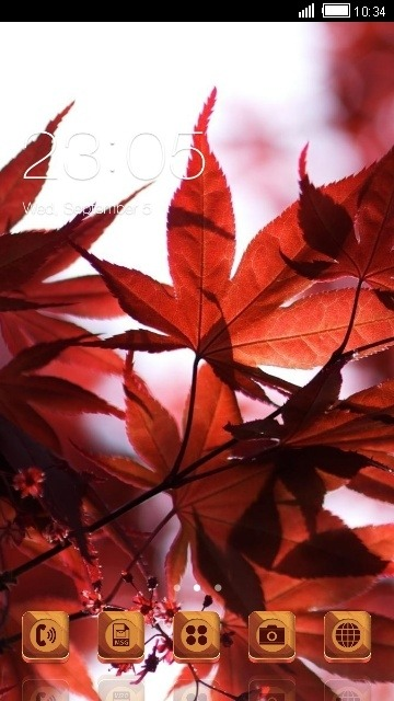 Red Leaves CLauncher Android Theme Image 1