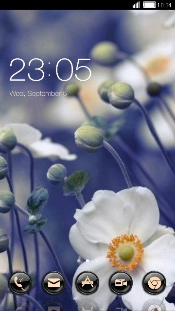 White Flowers CLauncher Android Theme Image 1