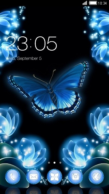 Neon Butterfly CLauncher Android Theme Image 1
