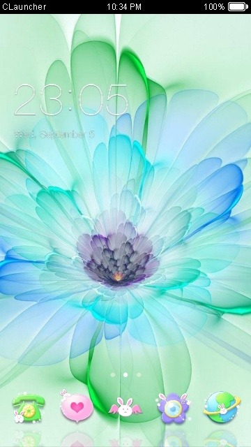 Blue Flower CLauncher Android Theme Image 1