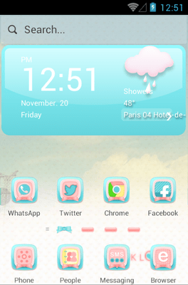 Pink Love Hola Launcher Android Theme Image 1