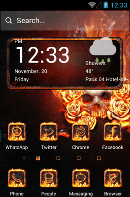 The Flame Skull Hola Launcher Android Theme Image 1