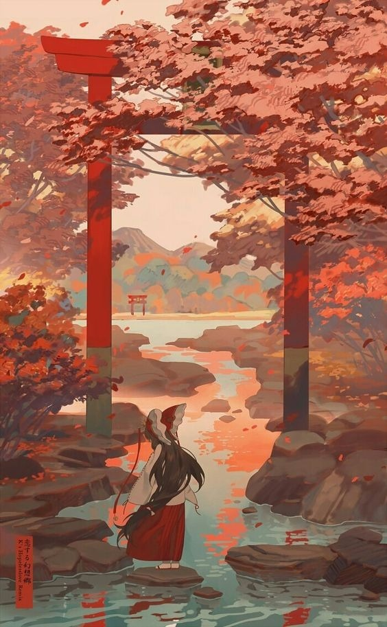 Autumn Lake Mobile Phone Wallpaper Image 1