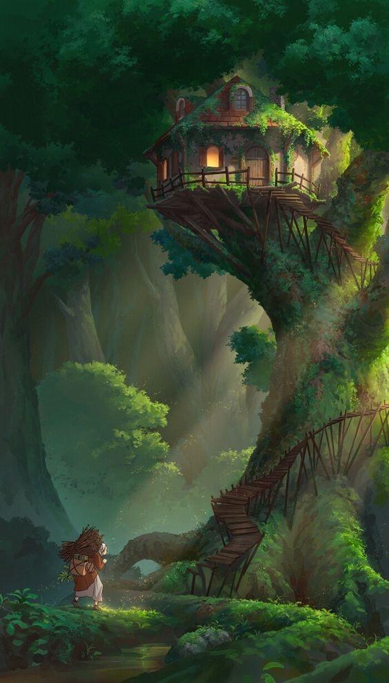 Tree House Mobile Phone Wallpaper Image 1