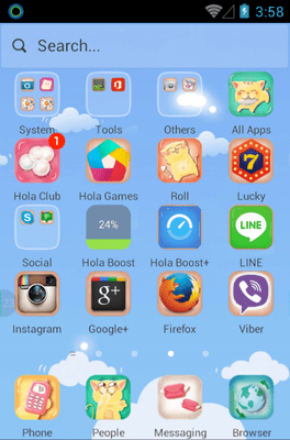 Kitty Blue Hola Launcher Android Theme Image 2