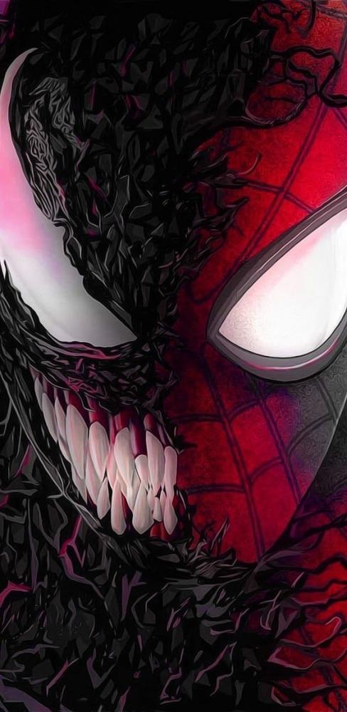 Venom vs Spiderman Mobile Phone Wallpaper Image 1
