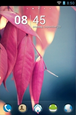 Pink Leaves Go Launcher Android Theme Image 1