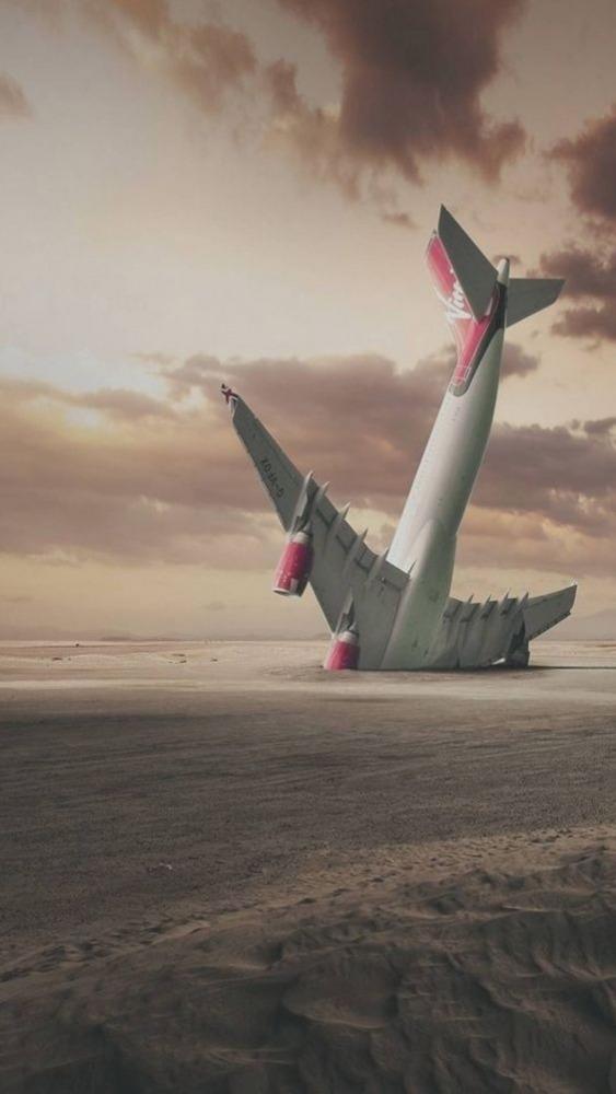 Plane Crash Mobile Phone Wallpaper Image 1