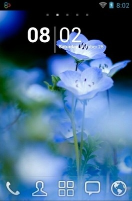 Blue Flower Go Launcher Android Theme Image 1