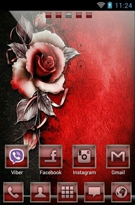 Red Rose Go Launcher Android Theme Image 1