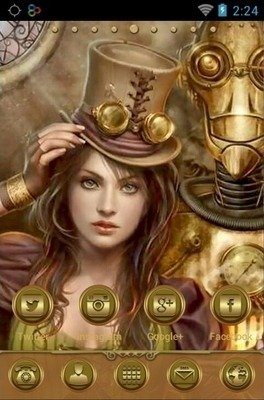 Steampunk Girl Go Launcher Android Theme Image 1