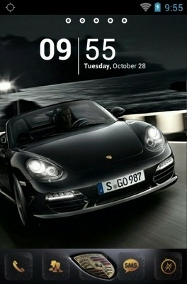 Black Porsche Go Launcher Android Theme Image 1