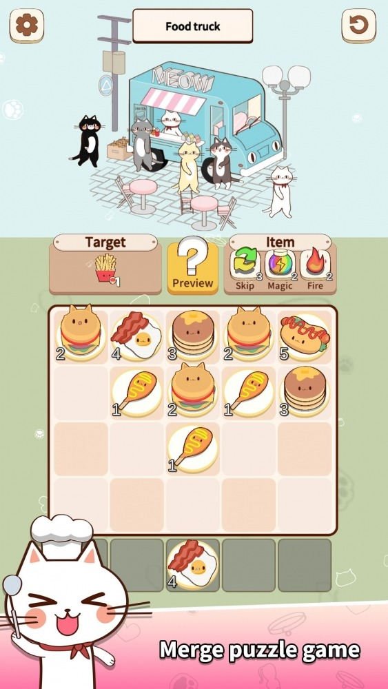 Cat Merge Cafe - Dessert Puzzle Android Game Image 3