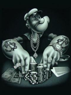 Popye Playing Poker