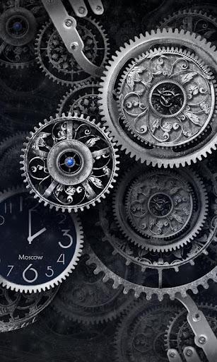 download free android wallpaper black clock 2034