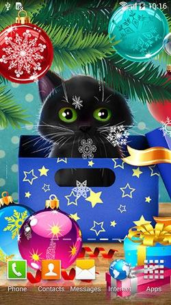 Kitten on Christmas Android Mobile Phone Wallpaper