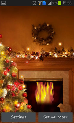 Fireplace New Year 2015 Android Mobile Phone Wallpaper
