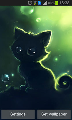 Lonely Black Kitty Android Mobile Phone Wallpaper