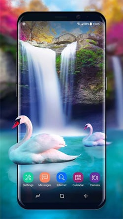 Waterfall And Swan