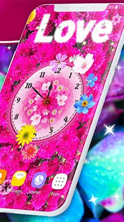 Flowers Analog Clock Android Mobile Phone Wallpaper