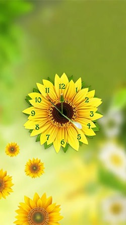Sunflower Clock Android Mobile Phone Wallpaper