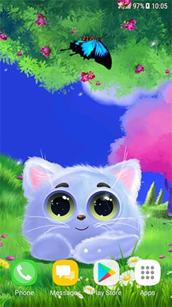 Animated Cat Android Mobile Phone Wallpaper
